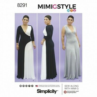 Simplicity Sewing Pattern Misses' Maxi Knit Dress with Panel Variations 8291