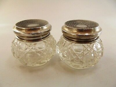 Pair Of Small Antique Dressing Table Jars / Silver Lid Birmingham 1923 Ref 366/1