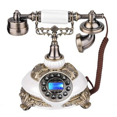 Pearl White Retro Vintage Push Button Antique Telephone Dial Desk Phone Gift