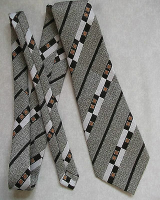 Vintage TOOTAL Tie Mens Wide Necktie Retro Fashion  BROWN ABSTRACT STRIPED