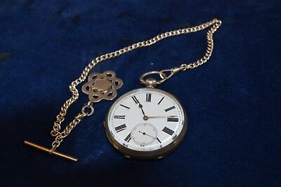 Vintage Hallmarked Fine Silver Pocket Watch & Sterling Silver Fob T Bar & Chain
