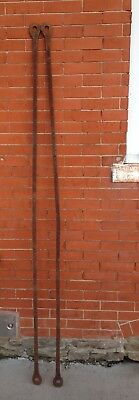 """Antique Pair Early Hand Forged 6' 9"""" Long Wrought Iron Barn Door Support Straps"""