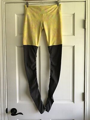 Alo Goddess Yoga Ribbed Yellow Gray Leggings Pants Womens Medium