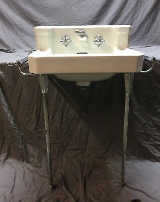 Vtg Mid Century Ceramic White Bath Sink Chrome Legs Towel Bars Standard 467-18E