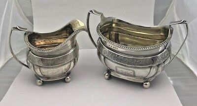 ANTIQUE 18th CENTURY GEORGE III ENGLISH STERLING SILVER CREAMER & SUGAR BOWL