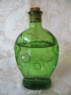 VINTAGE/HALLOWEEN GREEN POISON Skull BOTTLE  WHEATON Glass 1971 NJ USA