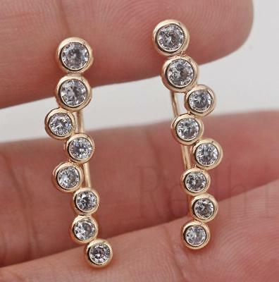 18K Gold Filled - Swirl Siamese Round White Topaz Gemstone Lady Stud Earrings