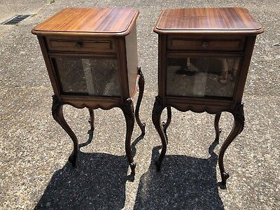 Antique Louis XV French Mahogany Bedside Cabinets Matching Pair