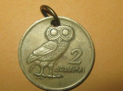 Greece Antique Vintage Athena Owl Phoenix Greek Coin Charm Pendant Necklace