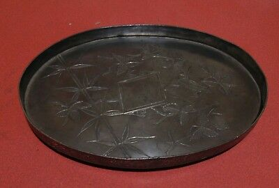 Small Arts & Crafts Britannia Metal Tray Bird & Leaf Engraving
