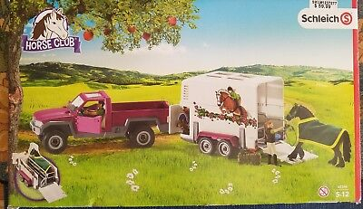New! Schleich Pick Up Truck With Horse Trailer & Accessories #42346  Horse Club