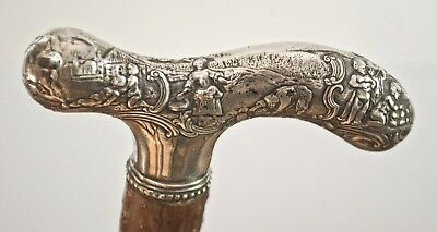 Antique Gorham Co. ornate repousse pictorial silver handle riding crop rare cane
