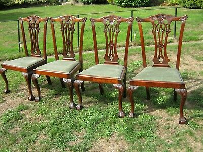 George III Chippendale style mahogany dining chairs on ball & claw feet - set 4