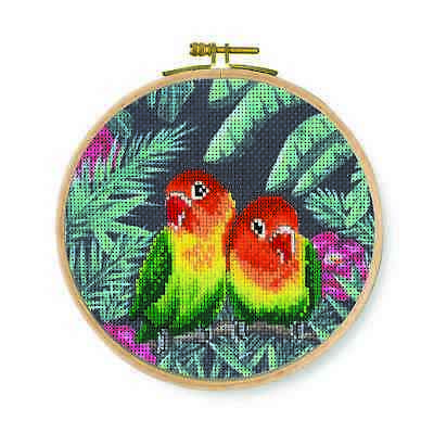 DMC Printed Cross Stitch Kit - Love Birds - Printed fabric. Hoop included