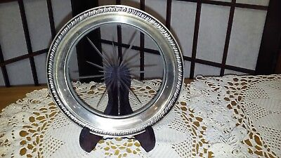 Vintage Wine Bottle Etched Starburst Glass Coaster With Sterling Silver Rim EC