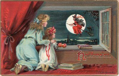 Halloween Postcard. Raphael Tuck & Sons, Series 150. Mother And Daughter Witch