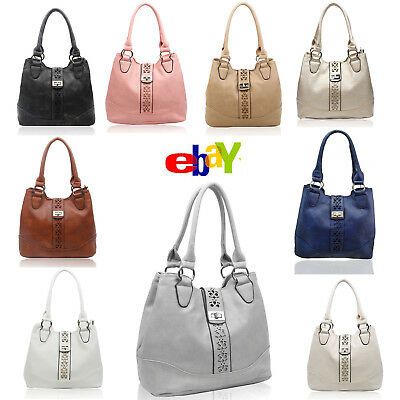 Ladies Girls Tote Top Handle Hand Bag Cut Out Pattern Design Shoulder Bag Womans