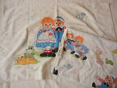 Vintage Pacific Raggedy Ann and Andy 1970's Twin Flat Sheet & Pillowcase