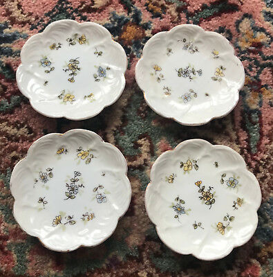Four Antique/Vintage Porcelain - China Floral Butter Pat Plates - Very Small!