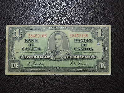 1937 $1 Dollar Bank Note Canada C/L8452168 Gordon Towers VG Grade Bill George VI