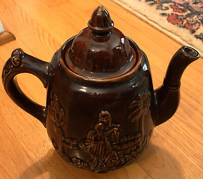 "Harker Rockingham Pottery ""Rebecca at the Well"" Brown Teapot REPRODUCTION"