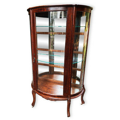 Antique Victorian Quartersawn Tiger Oak Bowed Curved China Cabinet