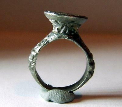 Circa:14Th Century Medieval Silver Seal Ring Lis Design