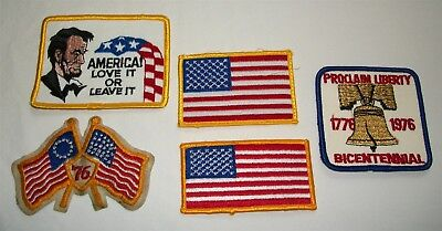 Vintage Embroidered Patch Lot Patriotic USA Flag 1976 Bicentennial United States