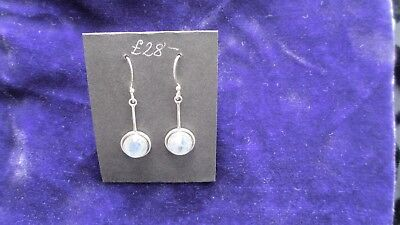 pure silver and moonstone pendant earrings never worn
