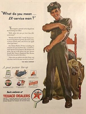 "Texaco Dealers ""Mr. Service""- Evening Post Paper Advertising, 1945 WW2 Original"