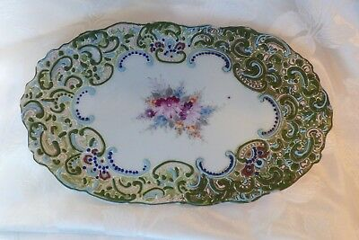 1880 pre nippon Hand Painted Raised enamel Moriage Beaded Oval Platter 11""