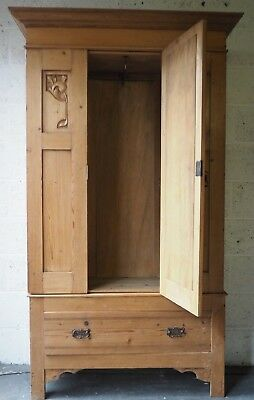 Lovely Victorian Antique Solid Pine Wardrobe Cupboard with Mirror and Drawer