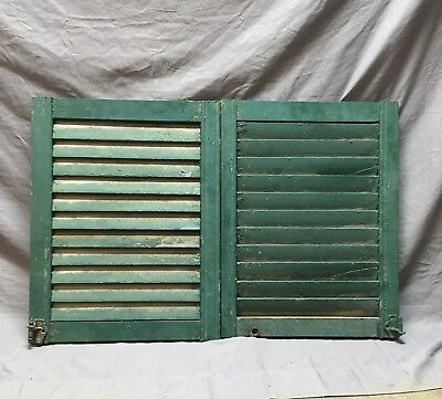 Small Pair Antique House Window Wood Louvered Shutters 17x23 Shabby Vtg    8-18C