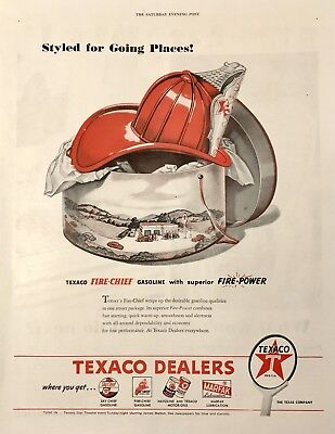 Texaco Fire Chief Helmet- Evening Post Paper Advertising, 1946 Original Ad