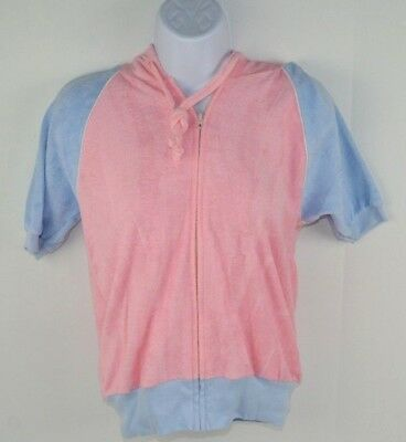 Vintage 1980's Women's Terry Cloth Full Zip Hooded Track Jacket Pink/Blue M