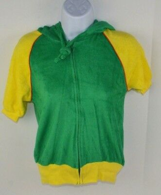 Vintage 1980's Women's Terry Cloth Full Zip Hooded Track Jacket Green/Yellow L