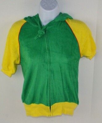 Vintage 1980's Women's Terry Cloth Full Zip Hooded Track Jacket Green/Yellow S