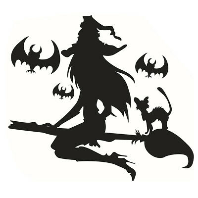 WITCH RIDING A BROOMSTICK Vinyl Decal Sticker Window Wall Bumper Happy Halloween
