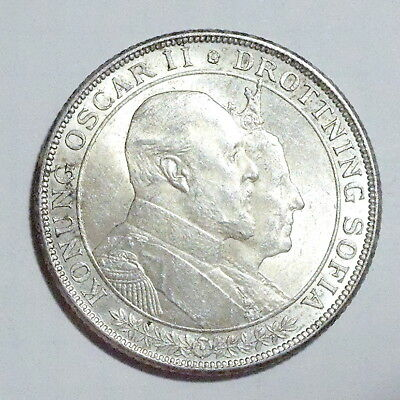 SWEDEN - Oscar II (1872-1907) 2 Krone 1907 - Silver - Golden Wedding - EXCELLENT