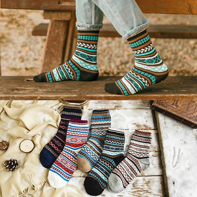 5Pairs Men Casual Wool Cashmere Warm Thick Design Retro Sports Fashion Socks Lot