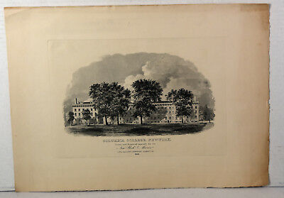 Antique 1828 Engraving Columbia College New York Drawn for NY Mirror