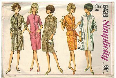 6439 Vintage Simplicity Sewing Pattern Misses One Piece Coat Dress Unlined Coat