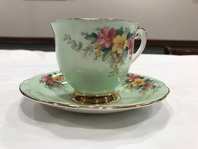 Vintage Royal Windsor Gold Rimmed Tea Cup and Saucer Fine Bone China