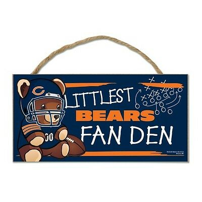 "Chicago Bears Littlest Fan 5""x10"" Fan Cave Wood Sign Authentic NFL Wall Decor"