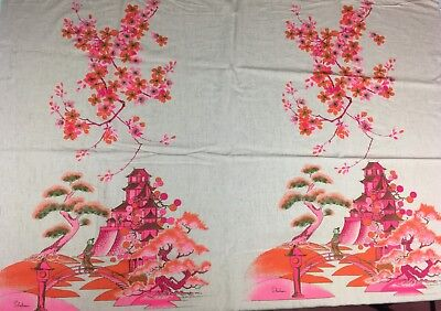 Vintage Alfred Shaheen Fabric Panel, 1960s, Screen Printed Linen Asian Print