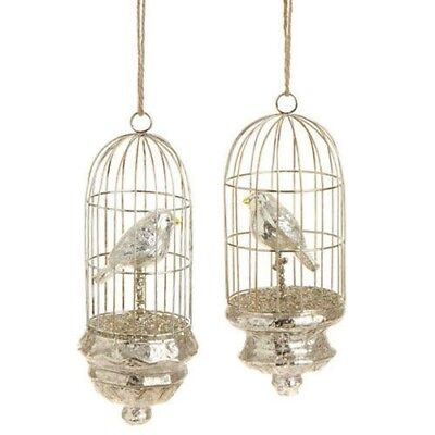 Beautiful RAZ Mercury Glass   Birdcage Christmas Ornament