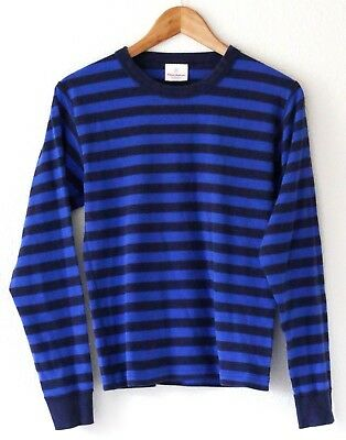 Hanna Andersson Adult Unisex Blue Striped Pajama Top Size XS Organic Cotton