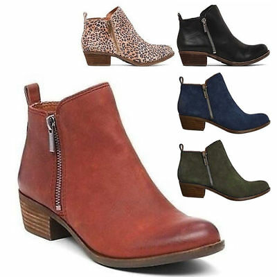 Womens Ladies Ankle Boots Low Mid Block Heels PU/Suede Chelsea Zip Up Shoes Size