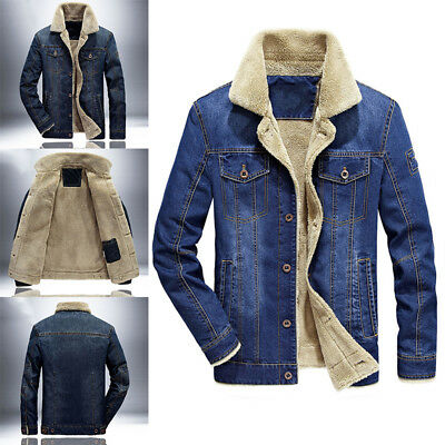 Men Winter Fur Lined Fleece Denim Jean  Outerwear Jacket Coat Parka M-4XL