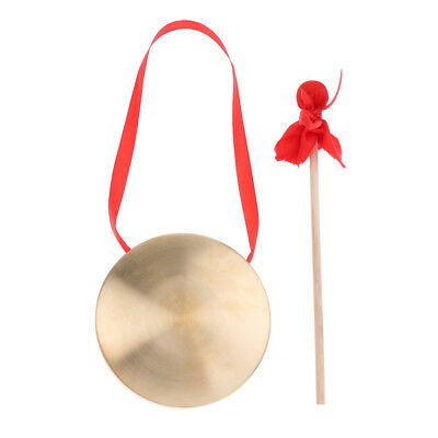 Copper Cymbal Gong with Hammer Set Mini Chinese Traditional Instrument